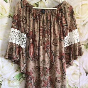Win Win Half Sleeve Lace Tunic Paisley Floral Multi Browns Tans Size L/XL